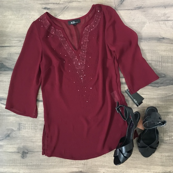 34322dab50dd9 NEW AGB Petite Small red 3 4 length sleeve blouse